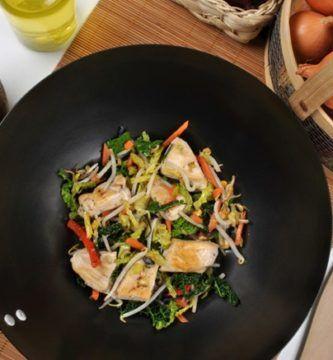 salteado de pavo al wok
